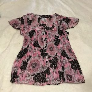 Pink & Black Floral Blouse by Dress Barn